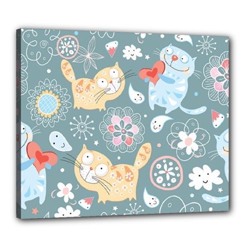 Cute Cat Background Pattern Canvas 24  X 20