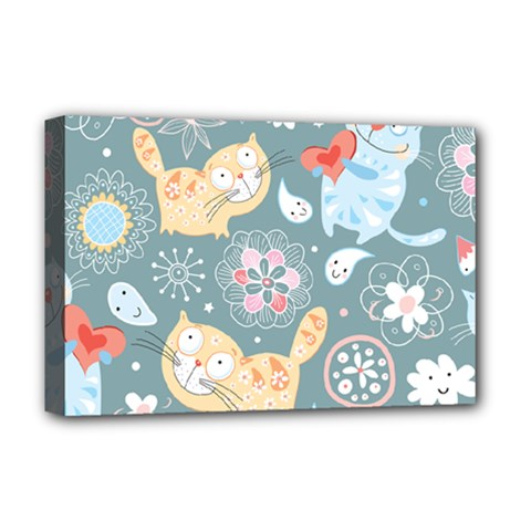 Cute Cat Background Pattern Deluxe Canvas 18  X 12