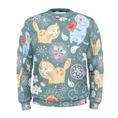 Cute Cat Background Pattern Men s Sweatshirt
