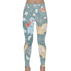 Cute Cat Background Pattern Classic Yoga Leggings