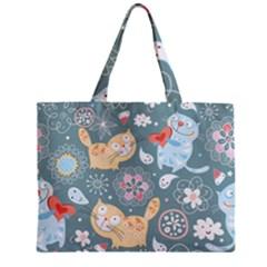 Cute Cat Background Pattern Zipper Mini Tote Bag