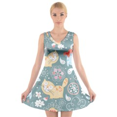 Cute Cat Background Pattern V Neck Sleeveless Skater Dress