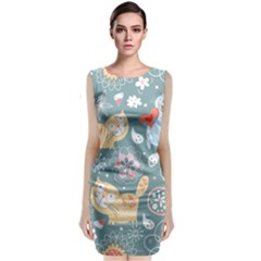 Cute Cat Background Pattern Classic Sleeveless Midi Dress
