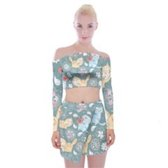 Cute Cat Background Pattern Off Shoulder Top With Skirt Set
