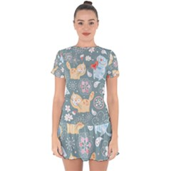 Cute Cat Background Pattern Drop Hem Mini Chiffon Dress