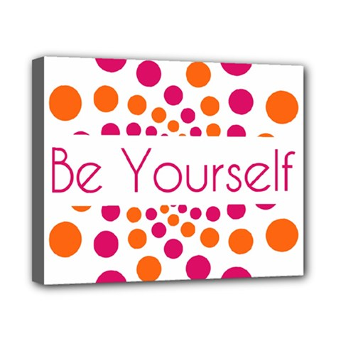 Be Yourself Pink Orange Dots Circular Canvas 10  X 8