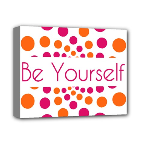 Be Yourself Pink Orange Dots Circular Deluxe Canvas 14  X 11