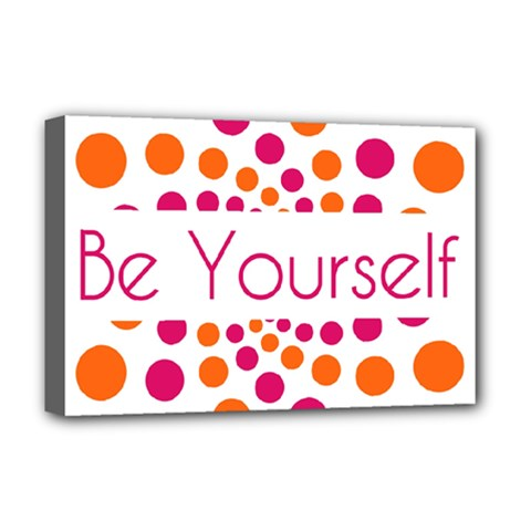 Be Yourself Pink Orange Dots Circular Deluxe Canvas 18  X 12
