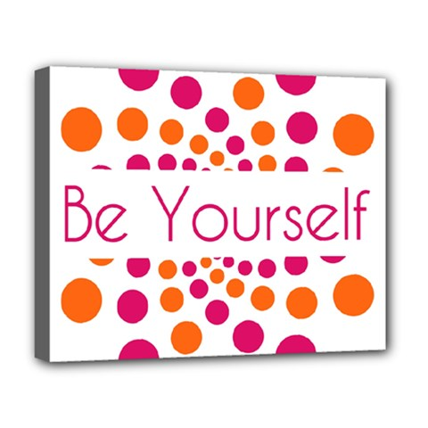 Be Yourself Pink Orange Dots Circular Deluxe Canvas 20  X 16