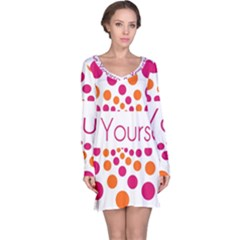 Be Yourself Pink Orange Dots Circular Long Sleeve Nightdress