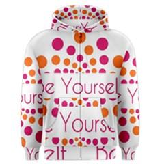 Be Yourself Pink Orange Dots Circular Men s Zipper Hoodie