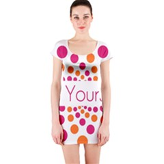 Be Yourself Pink Orange Dots Circular Short Sleeve Bodycon Dress