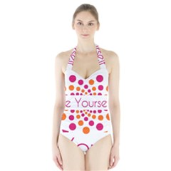 Be Yourself Pink Orange Dots Circular Halter Swimsuit