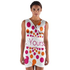 Be Yourself Pink Orange Dots Circular Wrap Front Bodycon Dress