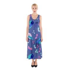 Birds And Butterflies Sleeveless Maxi Dress