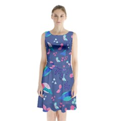 Birds And Butterflies Sleeveless Waist Tie Chiffon Dress