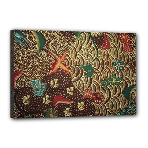 Art Traditional Flower  Batik Pattern Canvas 18  X 12