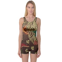 Art Traditional Flower  Batik Pattern One Piece Boyleg Swimsuit
