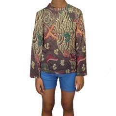 Art Traditional Flower  Batik Pattern Kids  Long Sleeve Swimwear