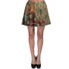 Art Traditional Flower  Batik Pattern Skater Skirt