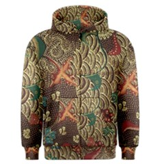 Art Traditional Flower  Batik Pattern Men s Zipper Hoodie