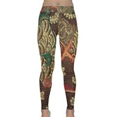 Art Traditional Flower  Batik Pattern Classic Yoga Leggings