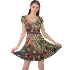 Art Traditional Flower  Batik Pattern Cap Sleeve Dresses