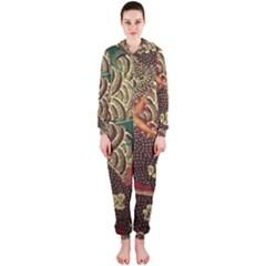 Art Traditional Flower  Batik Pattern Hooded Jumpsuit (ladies)