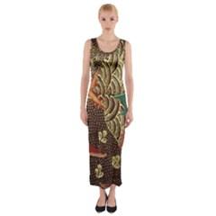 Art Traditional Flower  Batik Pattern Fitted Maxi Dress