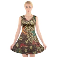 Art Traditional Flower  Batik Pattern V Neck Sleeveless Skater Dress
