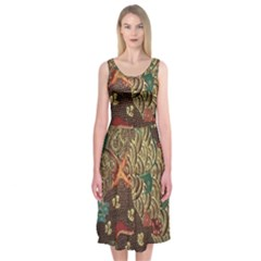 Art Traditional Flower  Batik Pattern Midi Sleeveless Dress