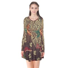 Art Traditional Flower  Batik Pattern Flare Dress