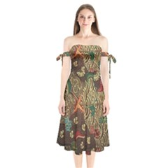 Art Traditional Flower  Batik Pattern Shoulder Tie Bardot Midi Dress