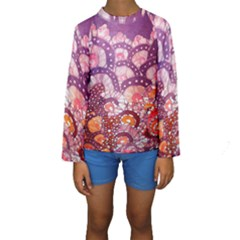 Colorful Art Traditional Batik Pattern Kids  Long Sleeve Swimwear