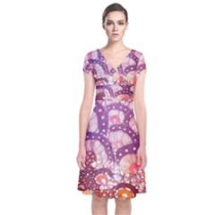 Colorful Art Traditional Batik Pattern Short Sleeve Front Wrap Dress