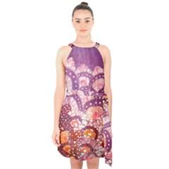 Colorful Art Traditional Batik Pattern Halter Collar Waist Tie Chiffon Dress