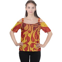 Abstract Pattern Cutout Shoulder Tee