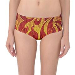 Abstract Pattern Mid Waist Bikini Bottoms