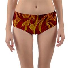 Abstract Pattern Reversible Mid Waist Bikini Bottoms