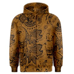 Art Traditional Batik Flower Pattern Men s Zipper Hoodie