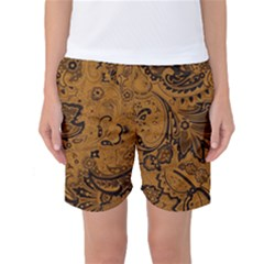 Art Traditional Batik Flower Pattern Women s Basketball Shorts