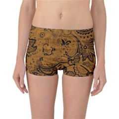 Art Traditional Batik Flower Pattern Boyleg Bikini Bottoms