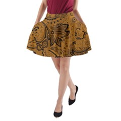 Art Traditional Batik Flower Pattern A Line Pocket Skirt