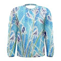 Art Batik Flowers Pattern Men s Long Sleeve Tee
