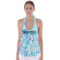 Art Batik Flowers Pattern Babydoll Tankini Top