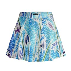 Art Batik Flowers Pattern Mini Flare Skirt