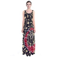 Art Batik Pattern Sleeveless Maxi Dress