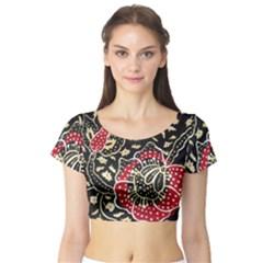 Art Batik Pattern Short Sleeve Crop Top (tight Fit)