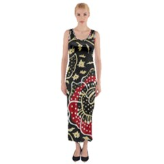 Art Batik Pattern Fitted Maxi Dress