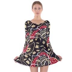 Art Batik Pattern Long Sleeve Velvet Skater Dress